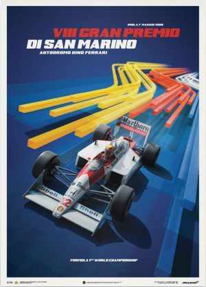 McLaren MP4/4 – Ayrton Senna – San Marino Poster – automobilist
